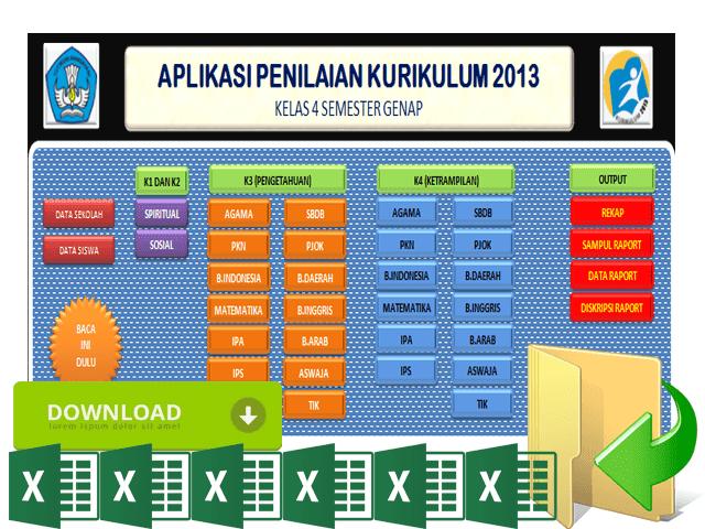 Unduh Raport Kurikulum 2013 Kelas 1 2 3 4 5 6 SD