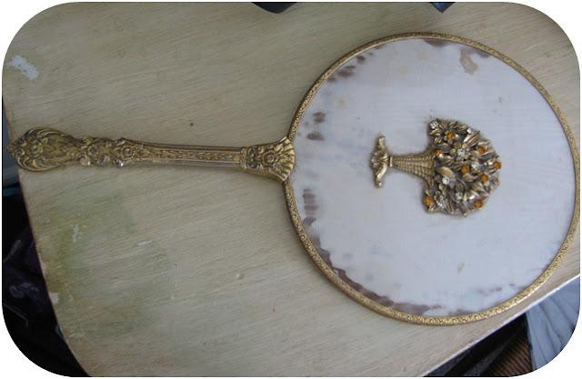 vintage vanity hand mirror