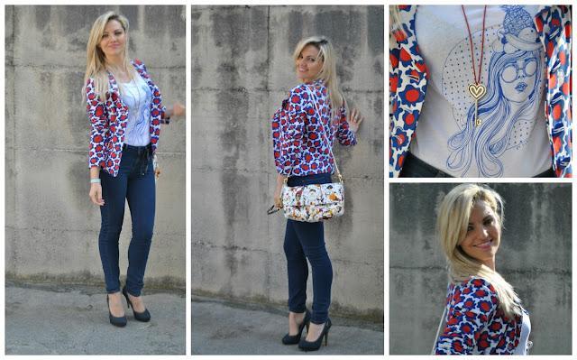 outfit blazer stampato blazer fornarina jeans e tacchi jeans a vita alta outfit primaverili outfit maggio 2016 mariafelicia magno fashion blogger blogger italiane