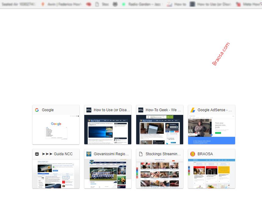 Pagina di apertura Chrome