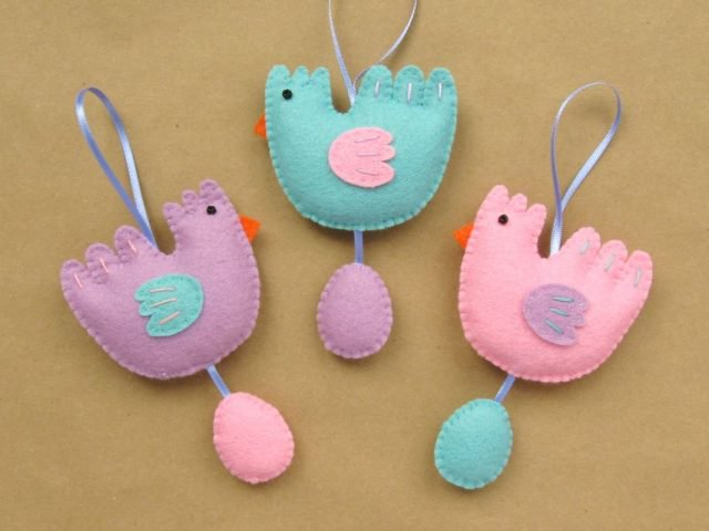 Set of three cute felt chicken & egg ornaments