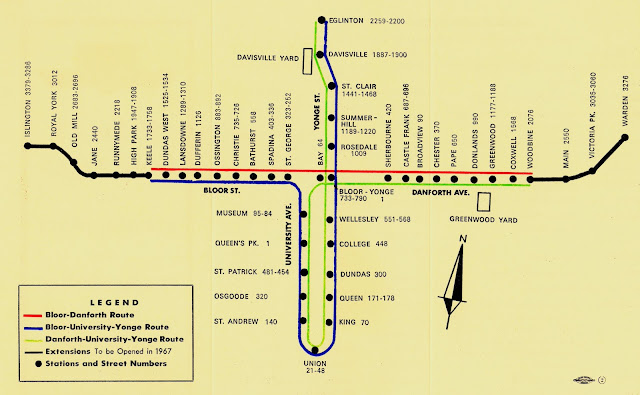 1966 TTC subway map showing interlining
