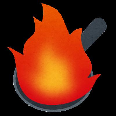 火が出るフライパンのイラスト