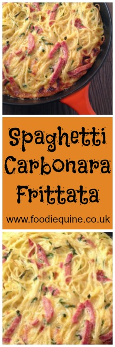 www.foodiequine.co.uk Spaghetti Carbonara Frittata, a twist on the Italian favourite. The perfect midweek meal using eggs, ham and pasta (plus any other fridge leftovers!). Wonderfully filling and works really well served cold for picnics and packed lunches.
