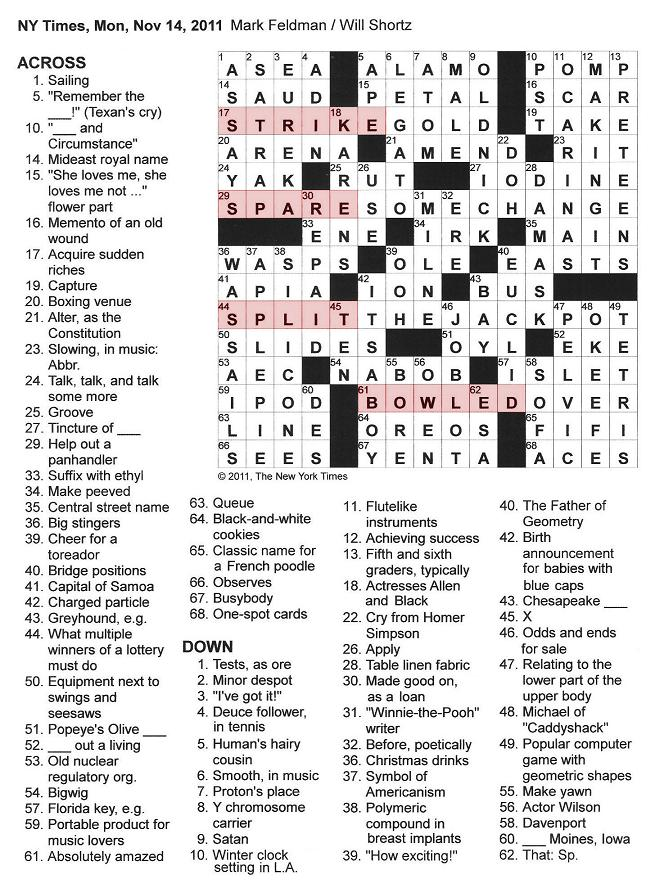The New York Times Crossword in Gothic: 11.14.11 — Bowling