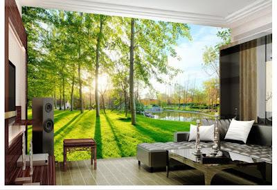 naturtapet träd grön fototapet landskap skogstapet fondtapet vardagsrum