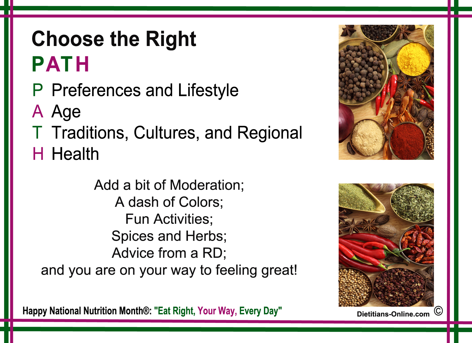 Dietitians Online Blog National Nutrition Month Eat Right Your Way Every Day