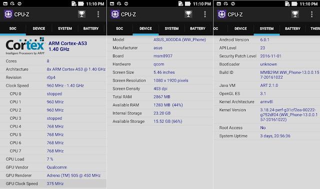 ASUS ZenFone 3 Max ZC553KL CPU-Z Info