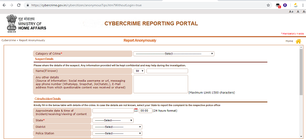 Online cyber crime complaint with cyber crime reporting portal.