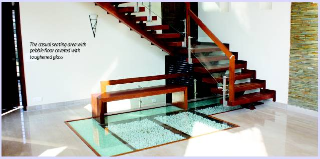 Glamours Glass Flooring With Pebbles