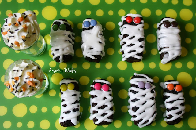 Halloween Mummy Brownies with Monster White Hot Chocolate & Vodka Shooters from www.anyonita-nibbles.com