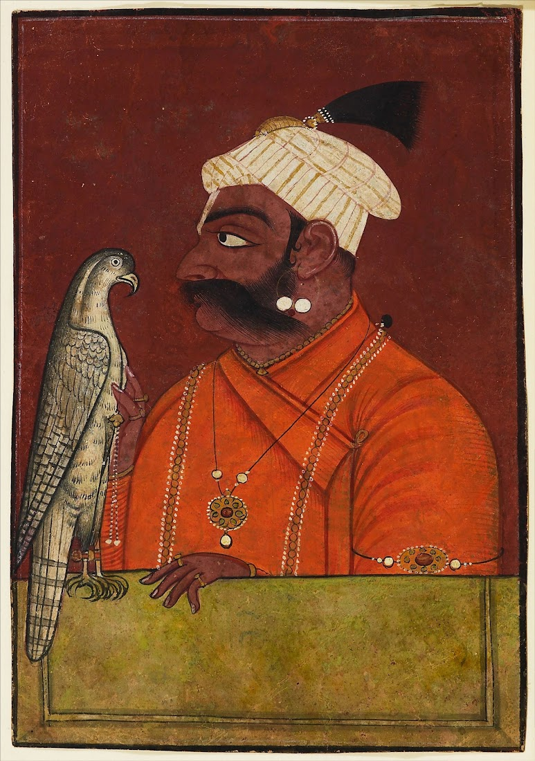 Maharaja Suraj Mal with a Hawk - Pahari Painting c1730 - 1740
