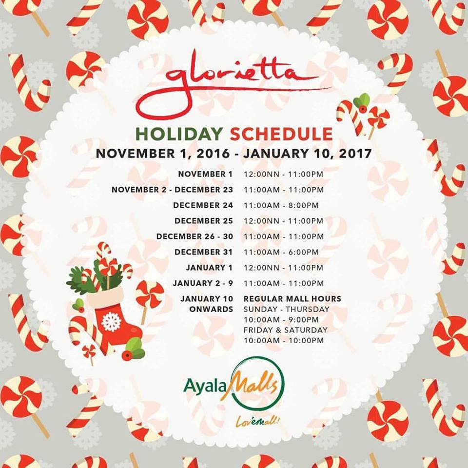 Glorietta mall schedule christmas and new year 2016