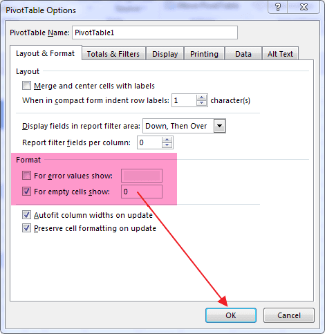 PivotTable Options For Empty-Blank Cells