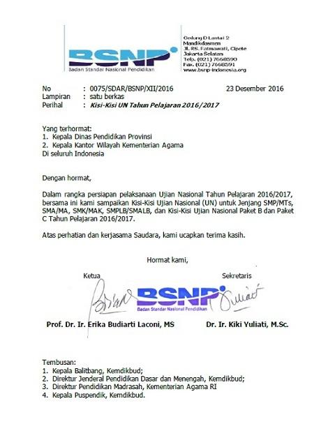 Kisi-Kisi UN 2017 SMP/MTs, SMA/MA, SMK/MAK, SMPLB/SMALB, Paket B, Paket C