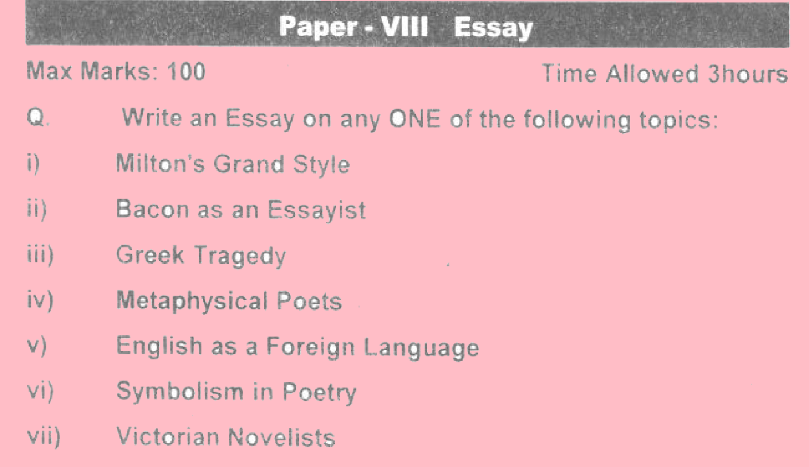 ma english part 2 past papers punjab university 2013 Essay