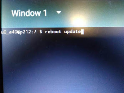 """Ketik """"Reboot Update di Terminal Emulator"""