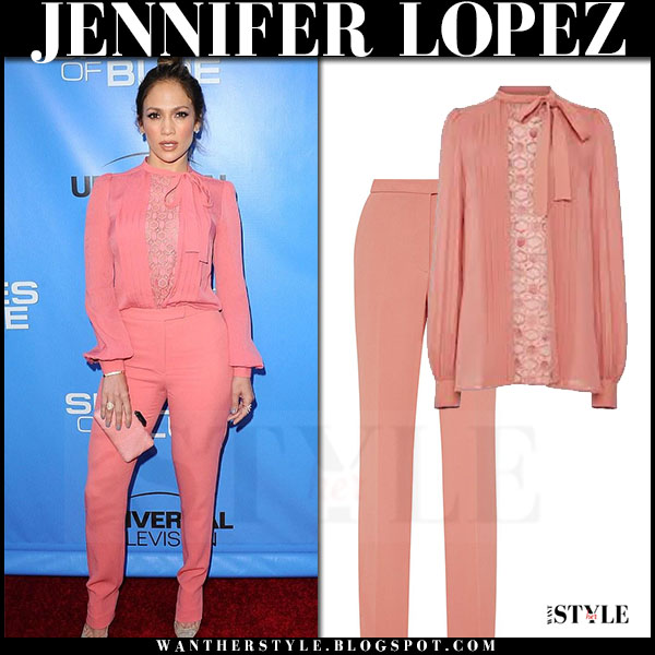 Jennifer Lopez in pink blouse and pink trousers elie saab what she wore
