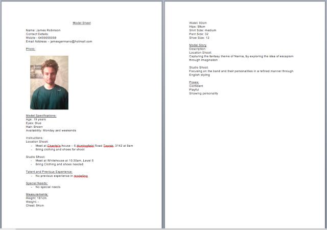 STL204: call sheet and model sheets