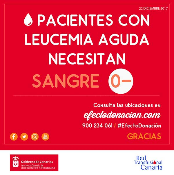 Se necesita donar sangre cero negativo para pacientes con leucemia aguda en Canarias