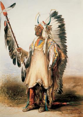 "Karl Bodmer, ""Mató-Tópe (Four Bears), Mandan Chief, 1834,"" Joslyn Art Museum, 1986.49.383"