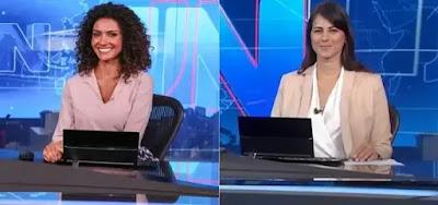 Aline Aguiar e Jéssica Senra na bancada do Jornal Nacional, em 2019