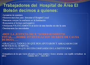 Resultado de imagen para comunicado de los trabajadores del hospital de el bolson