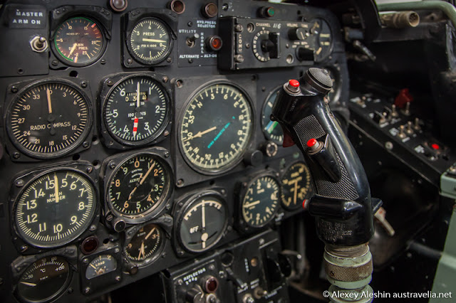 Close up of the Avon Sabre cockpit in Classic Jets Fighter Museum, Parafield Airport, South Australia