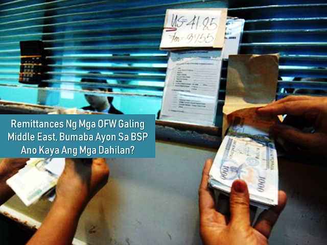 "Due to the high inflation rate which causes the price of almost everything to shoot up, the families of the overseas Filipino workers require more remittances coming from their breadwinner to catch up with the rising prices. However, instead of the inflation to cause the remittances to increase, the Bangko Sentral Ng Pilipinas statistics are telling otherwise.        Ads     Sponsored Links  Cash remittance from Filipino workers (OFW), particularly those in the Middle East, saw a steep decline from January to July this year, figures from the Central Bank of the Philippines (BSP) show.     A lawmaker noted that even the lifting of the ban on the deployment of Filipinos to Kuwait last May failed to stop the remittance plunge.    Based on the latest BSP data, there was a 15 percent decrease in remittances from OFWs in the Middle East, although fund transfers from Libya and Israel fell the most at 73 percent and 61 percent respectively.    With that, Rep. Henry Ong, chairman of the House Committee Chair on Banks & Financial Intermediaries, said the policy shift in OFW deployment priorities must happen ""sooner rather than later.""    ""Filipinos are being held hostage by armed groups in Libya. Israel recently welcomed President Rodrigo Duterte on a brief visit. However, the remittances from these two countries pale in comparison with those from Saudi Arabia, the United Arab Emirates, Bahrain, Kuwait, and Oman, which were in the high double-digit percentages decline,"" he said.    Remittances from Kuwait fell by 20.4 percent despite the resumption of OFW deployment last May. Bahrain showed negative 22.9 percent, transfers from Oman dropped by 38.3 percent and Saudi Arabia showed a slide of 10.4 percent.     Qatar is the exception. The remittances decline from Filipino workers there was only 6.3 percent.    Meanwhile, aside from the decrease in cash remittance, the Philippines also suffered a decline in the deployment of OFWs in 2017 after 10 years of continuous growth.    Remittances from overseas Filipino workers (OFWs) dropped by 4.5 percent in June to clock in at $2.4 billion, down from the $2.5 billion received in May and breaking the trend growth in inflows.    In a statement, the Bangko Sentral ng Pilipinas (BSP) said they recorded lower OFW transfers from the Middle East, particularly from those in the United Arab Emirates, Saudi Arabia, and Kuwait.    These are particularly the areas covered by deployment ban for OFWs announced by President Rodrigo Duterte in early 2018.    This brought total remittances to $14.2 billion during the first semester, just 2.7 percent higher from a year ago.    The BSP is seeing remittances to go four percent higher in 2018.    Meanwhile, the overall remittances which came from countries other than the Middle East seem to bounce back recently.  File under the category of high inflation rate, overseas Filipino workers , remittances,  statistics,Bangko Sentral Ng Pilipinas"
