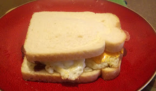 A bacon and egg butty for breakfast