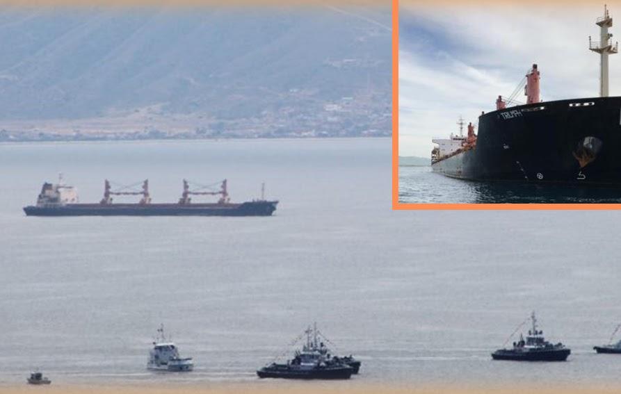 El buque Triumph en la bahía de Ensenada