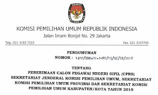 Informasi lengkap formasi, syarat berkas pendaftaran, alokasi, jabatan serta penempatan Lowongan CPNS 2018  Komisi Pemilihan Umum