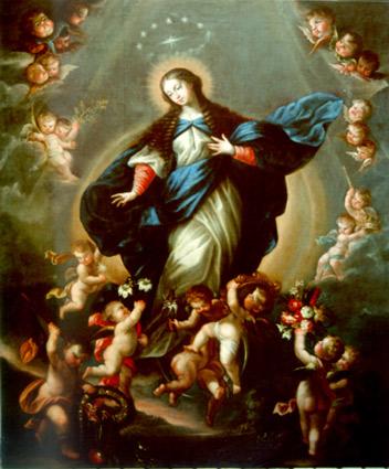 Inmaculada Concepción rodeada de muchos ángeles