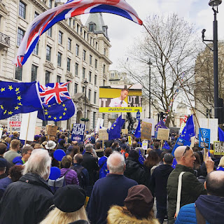 British and European flags fly at the People's March