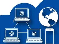 На картинке изображено: три компьютера, телефон и земной шар