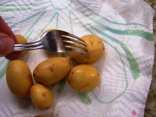 Prick potatoes with a fork before cooking