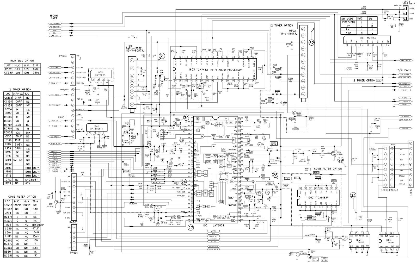 Daewoo Sony Vx 14a1 Vx14aw1 Vx21aw1 Circuit Diagram
