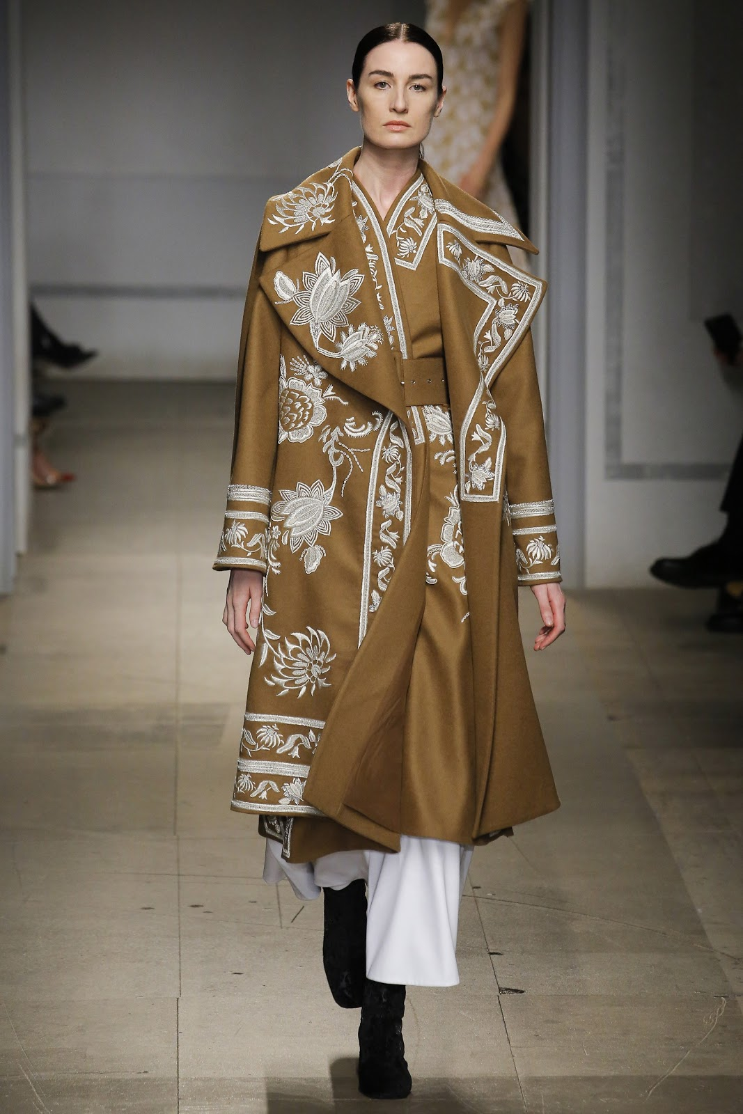 Embroidered camel coats