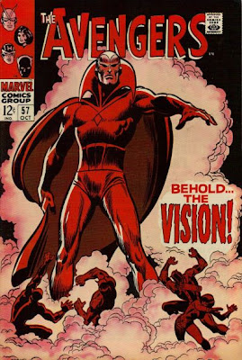 Avengers #57, shrouded in smoke, the Vision makes his first appearance as his giant figure towers over the shocked and helpless Avengers, John Buscema cover