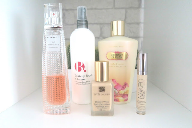 January Monthly Favourites, Givenchy Live Irresistible Perfume, B. Makeup Brush Cleanser, Victoria's Secret Coconut Passion Body Lotion, Estee Lauder Double Wear Foundation, Urban Decay Naked Skin Concealer