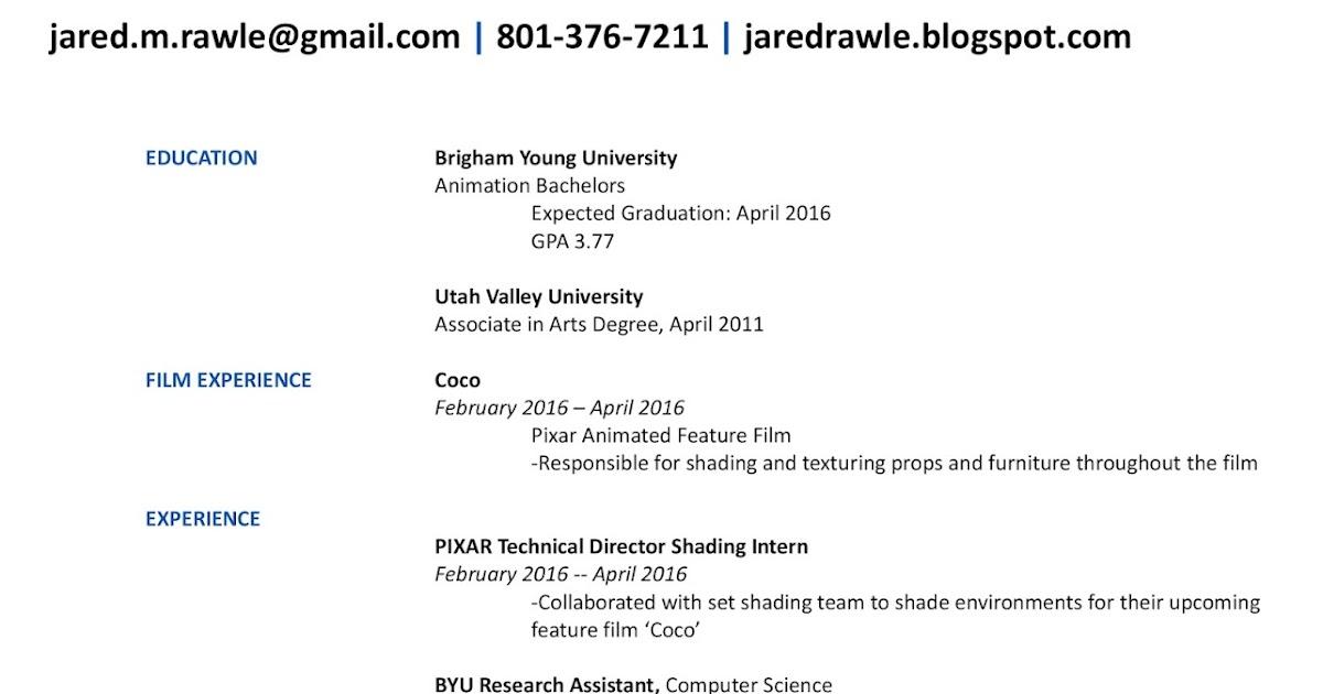 Jared Rawle Art Resume