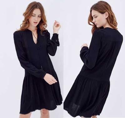 vestido negro avolantado