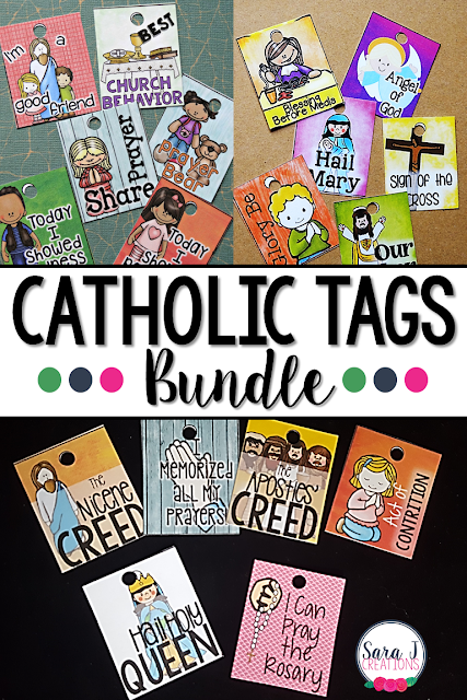 Catholic tags bundle is a great way to reward your students for positive behavior in the Catholic classroom. Reward tags allow you to celebrate and brag on your students behavior while also reminding and reinforcing lessons and Catholic concepts taught.