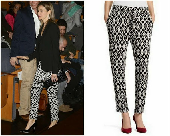 Princess Letizia wears Hugo Boss Printed Trouser. Style of Princess Letizia