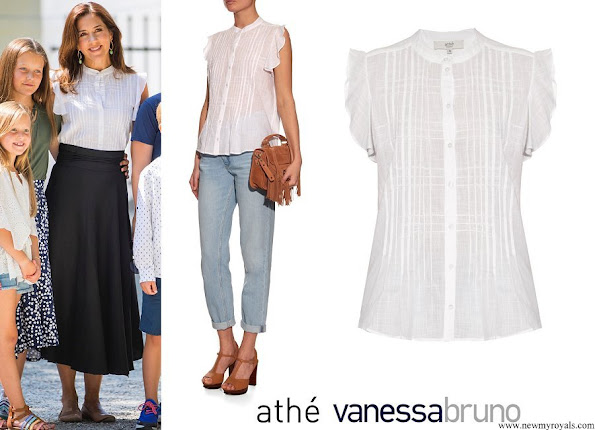Crown Princess Mary wore Vanessa Bruno Athé Esad Pintuck-seam Cotton Blouse