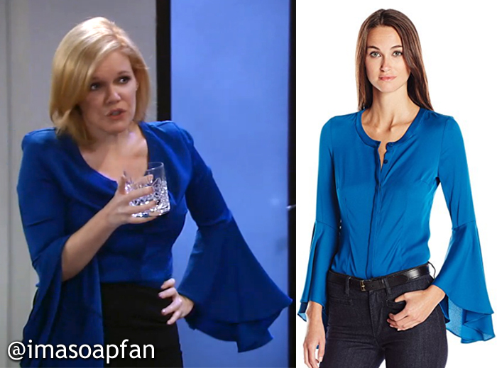 Ava Jerome, Maura West, Blue Silk Bell Sleeve Blouse, Milly, GH, General Hospital