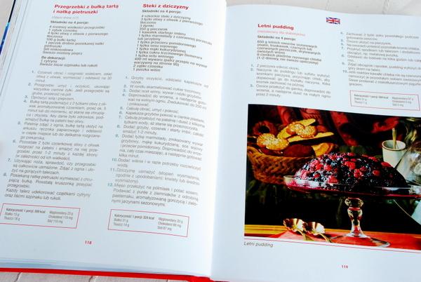 Wnętrze książki – przykładowa strona z przepisami i zdjęciem