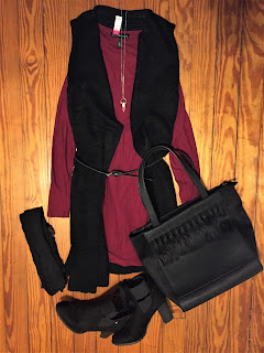 burgundy bodycon dress and long sleeveless knit cardigan outfit of the day