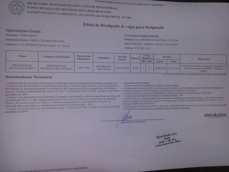 Escolas Estaduais de Ouro Preto realizam designações para contratação de professores nesta quinta-feira, 04 de agosto