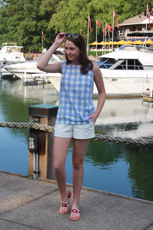 Gimme Glamour. Fourth of July outfit: gingham top, red white and blue
